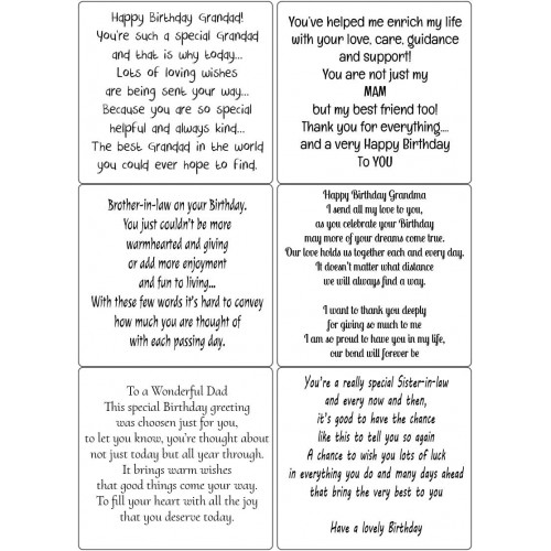 Easy Peel Self Adhesive Relatives Birthday Verses 2 by Essential Crafts